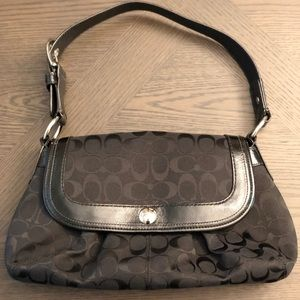 Coach (C) Black Leather Trimmed Shoulder Bag